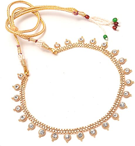 Necklace Set Ad Cz Kundan Simple Look Gold Plated Lightweight Jewelry For Women Girls 7850