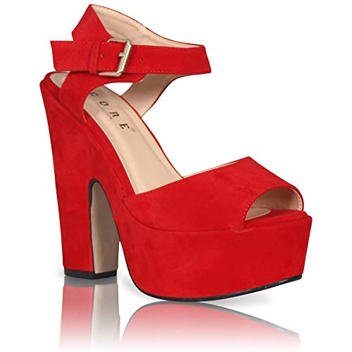 ac60aaeca46fe Red Platform Sandals: Amazon.co.uk