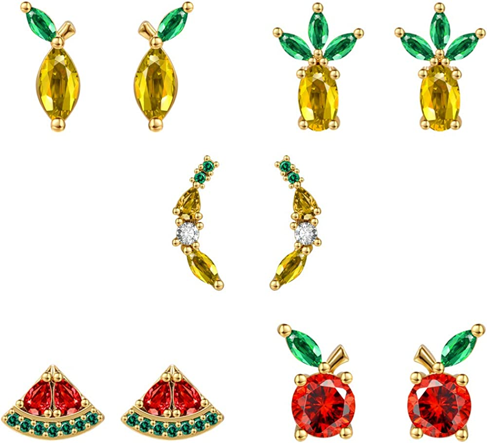 AoedeJ 25% OFF A surprise price is realized 14K Gold Plated Fruit Stud Set Cute Earrings Tropical Fru