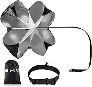 SKL Speed Chute 56 Inch Parachutes Running Speed Training Speed Training Parachute Running Resistance Power Chute (1 Umbrella, Black)