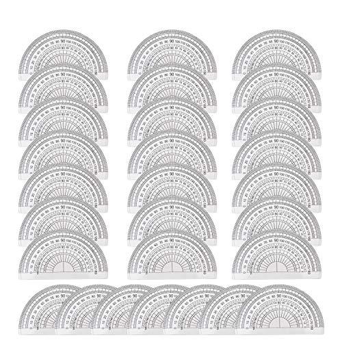 Winkelmesser - 28 Stück Größe 9,5cm x 5,5cm - Kunststoff Kurvenlineal von 0-180 Grad - fur Lernen Geometrie, Trigonometrie und Mathematik - für Schule, Zuhause, Büro und Handwerk