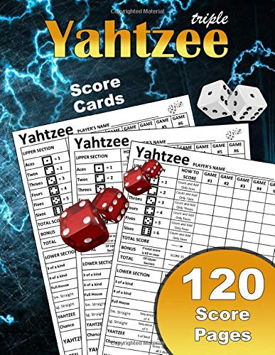 Triple Yahtzee Score Cards: Large Print Size 8.5X11 In 120 Yahtzee Score Cards Premium Quality | Yahtzee Score Sheets Hasbro | A Large Score Card Pads ... | Record Scorekeeper Book Gifts For Fans