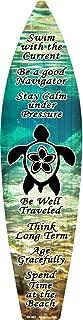 Smart Blonde Sea Turtle Metal Novelty Surf Board Sign SB-082