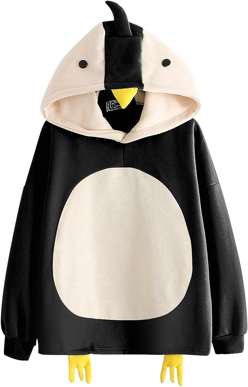Womens Sweatshirts Hoodie Lovely Splice Chicks Splice Print Long Sleeve Hooded Pullover Autumn Sweater Blouse