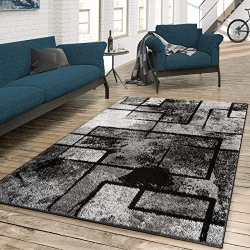 T&T Design Alfombra De Salón Moderna Arte Abstracto En Gris Negro Antracita, Größe:200x290 cm
