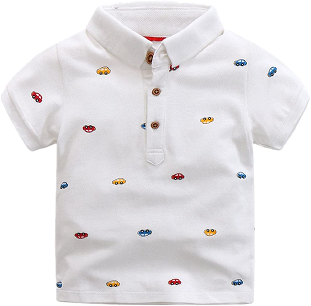 Motteecity Little Boys' Car Short Sleeve Polo T-Shirt