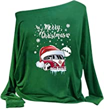 iLOOSKR Women Slim Pullover Top Letter Marry Christmas Santa Claus Print Long Sleeve Top Blouse