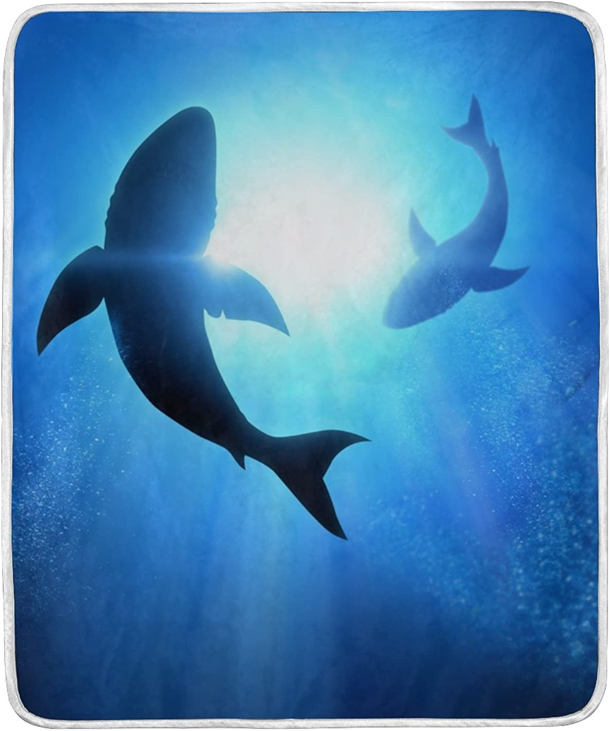 ALIREA Swiming Dophins Super Soft Warm Blanket Lightweight Throw Blankets for Bed Couch Sofa Travelling Camping 60 x 50 Inch for Kids Boys Girls