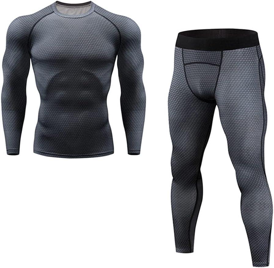 GPPZM Men's Thermal Underwear Underpants Kit Sports Compression Clothing Tracksuit for Men Fitness Slim Joggers (Color : E, Size : M Code)