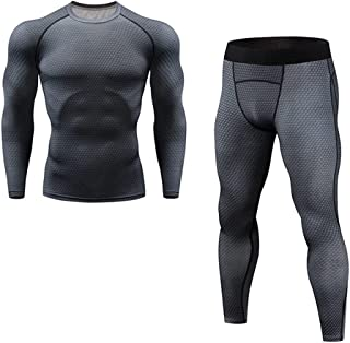 ZSQAW Men's Thermal Underwear Underpants Kit Sports Compression Clothing Tracksuit for Men Fitness Slim Joggers (Color : ...