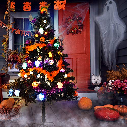 Tao-Ge Black Halloween Tree Decorations with Pumpkin Eyeball Skull Lights Skeleton Spider Ornaments Haunted Halloween Tree for Home Office Living Room