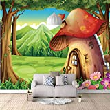 Papel Pintado Pared Casa De Setas De Dibujos Animados 120x100cm,Moderno Fotomurales Salón Dormitorio Despacho Pasillo Decoración Murales Decoración De Paredes