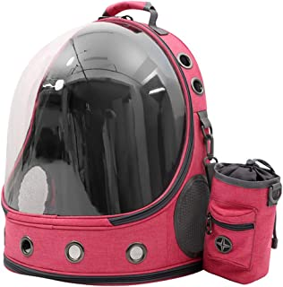 Kemelo Astronaut Capsule Traspirante Pet Cat Puppy Travel Bag Space Backpack Carrier Bag, Zaino da Uomo, Rosa Caldo