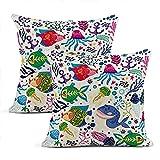 Fundas de almohada de algodón con diseño de animales y burbujas, 2 unidades de fundas de almohada cuadradas de algodón, 50 x 50 cm