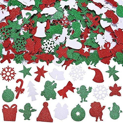 288 piezas de pegatinas de espuma de Navidad con purpurina autoadhesivas con forma de tema de Navidad pegatinas de Navidad para decoración de fiestas de Navidad suministros de manualidades de bricola