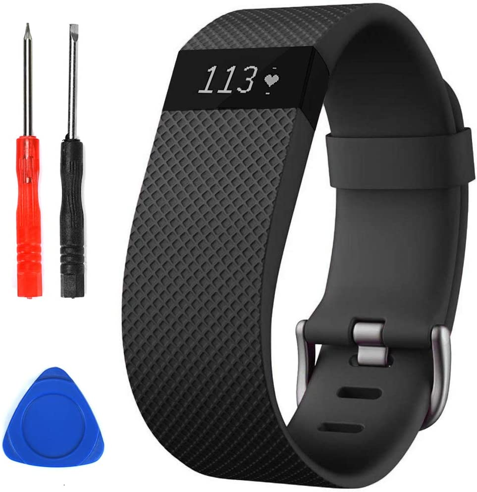 Sophili Bands Compatible for Charge Hr, Silicone Replacement Small Large with Metal Buckle Fitness Wristband Strap for Fitbit Charge HR / HR1(Black/S)
