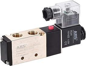 sourcing map Válvula de solenoide Neumática Individual eléctrica DC24V 5 Vías 2 Posiciones de Rosca G 1/4