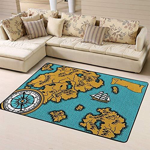 Kcmical Alfombra de área Alfombras Pancarta de Alfombra con Mapa náutico Antiguo, Barcos de Islas y Retro Vintage para Sala de Estar, Dormitorio