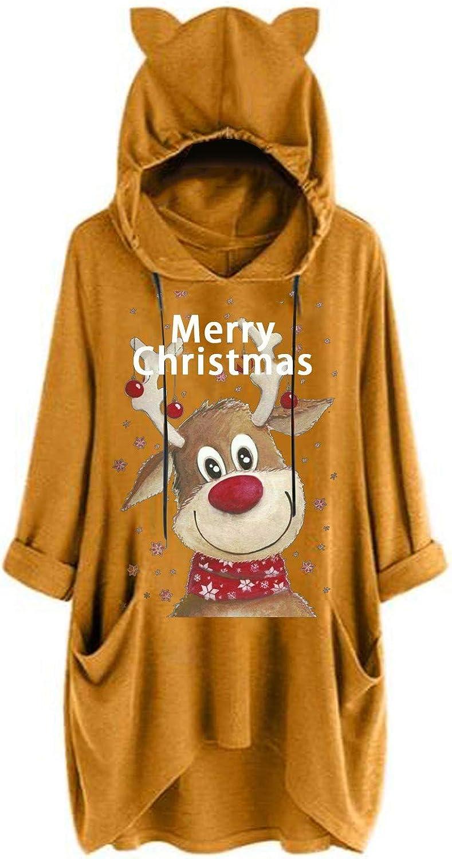 Damen Weihnachten Oberteil Katze Ohren T Shirt Elch Druck Langarmshirt Bluse Hoodie Asymmetrisches T-Shirt Tank Tops Tunika Kapuzenpullover Sweatshirt Taschen Pullover Hemd B-gelb