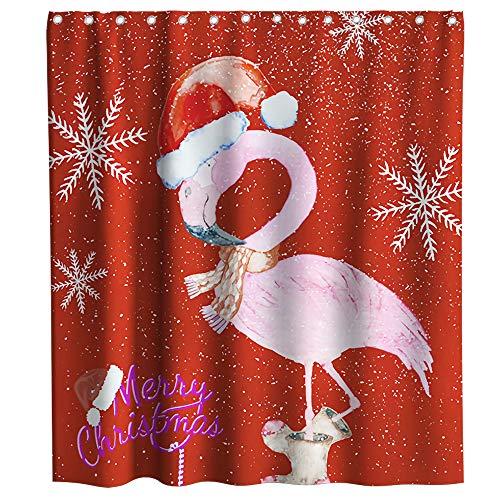 Kithstore Cortina de Ducha navideña con diseño de Flamenco, Impermeable, Lavable, 177,8 x 177,8 cm, Color Rojo y Rosa