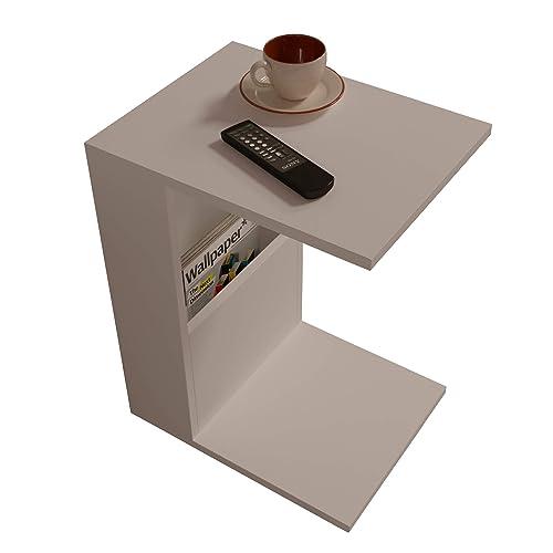 BONO Table d'appoint -Table basse - Bout de Canapé - Table café moderne dans un design à la mode (Blanc)
