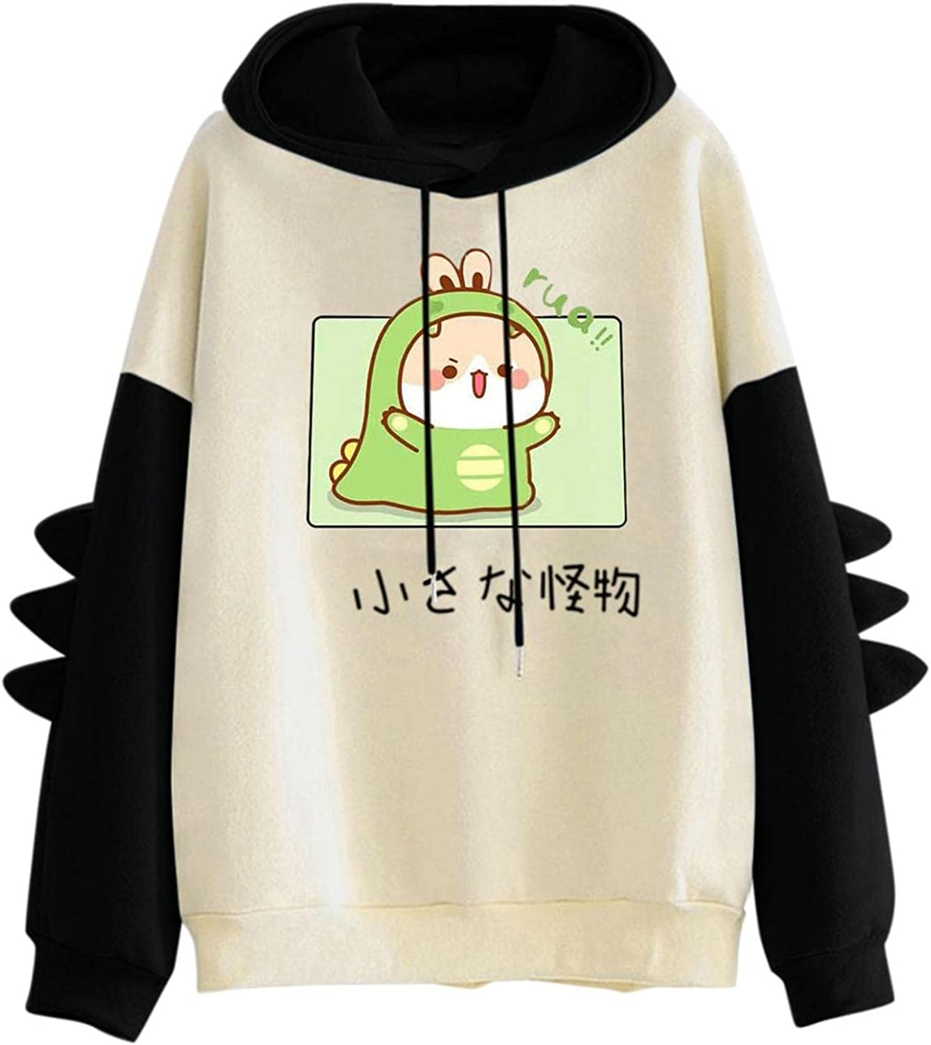 Forwelly Teen Girl Cute Hoodies Cartoon Graphic Print Patchwork Color Long Sleeve Hooded Sweatshirt with Pocket Pullover