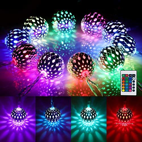 4M Kugel LED Lichterkette Innen USB, Marokkanische Kugeln Orientalisch Lichterkette Außen, 40er LED 16 Farben Lichterkette für Zimmer, Farbwechsel Stimmungsbeleuchtung für Weihnachten, Balkon,Garten