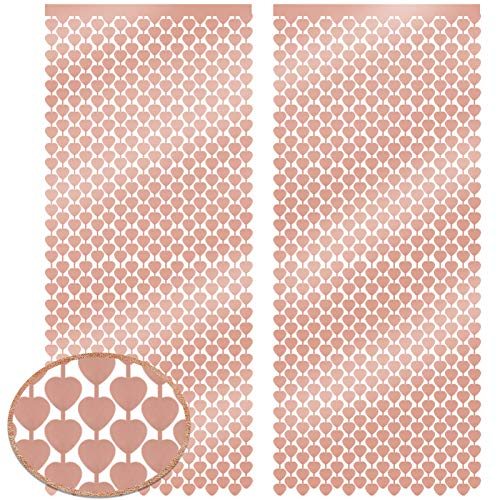 HOWAF 2PCS Rose Gold Heart Foil Curtain, 3.3 x 6.6 ft | Valentines Day Metallic Tinsel Foil Fringe Curtains, Hen Party Decorations, Birthday Backdrop, Wedding Photo Booth, Engagement, Bridal Shower