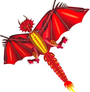 HENGDA KITE-New Ice and Fiery Dragon Kite-Easy to Fly-52inch x 63inch Single Line with Tail (Fiery)