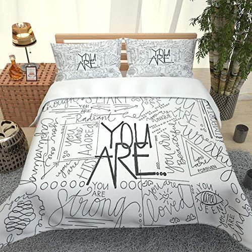 KTBDWOSG Ropa De Cama 3D Graffiti del Alfabeto En Blanco Y Negro Funda Nórdica De Lujo, Conjunto De Tres Piezas Antialérgico De Microfibra para Textiles para El Hogar 240 Cm X 260 Cm Super Rey
