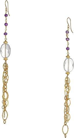 Gemstone Clear Quartz Dangle Earrings
