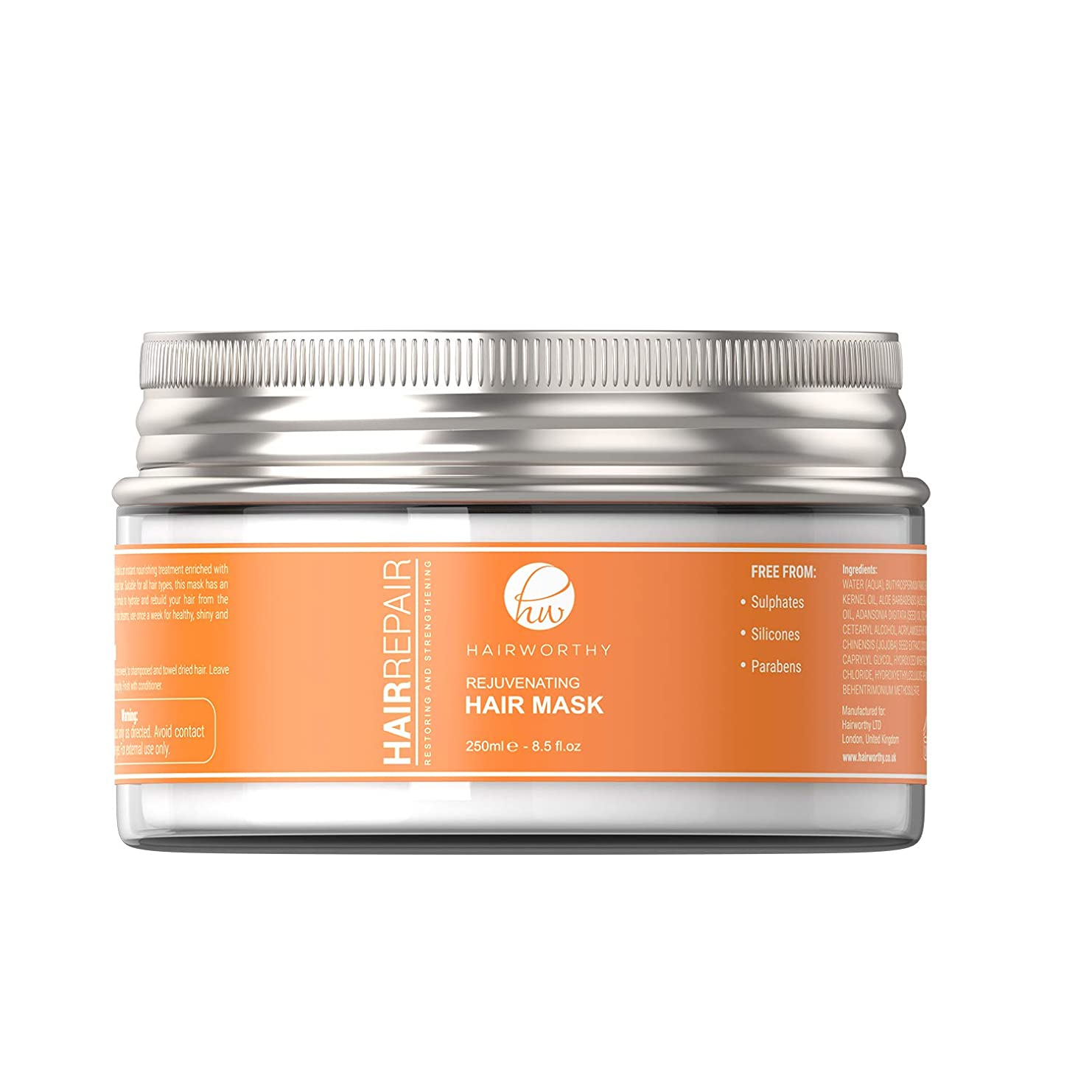 Hairworthy Hairrepair Rejuvenating Hair Mask - 若返りヘアマスク、インスタント栄養治療、柔らかく、光沢のある健康的な髪のための集中 的な深い活性化式。