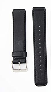 Genuine Leather 16mm Watch Band for Huawei B6 Sports Smart Watch Band Cow Hide Leather Wrist Watch Strap Replacement (Black)