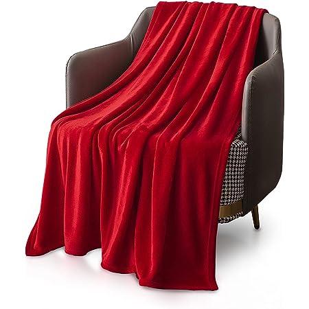 KEPLIN Grand Couvre-lit/plaid en flanelle- Microfibre douce, moelleuse et chaude Housse de Couette Tapis design (taille queen 200x 240cm, rouge)