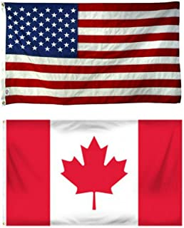 ALBATROS 4ftx6ft 4inx6in USA American with Canada Canadian Flag Banner Grommets for Home and Parades, Official Party, All Weather Indoors Outdoors