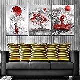 HUANGXLL Cuadro en Lienzo, póster artístico de Flor de Cerezo japonés e impresión de Imagen artística de Pared para la decoración del hogar de la Sala de estar-45x65cmx3Pcs-Sin Marco