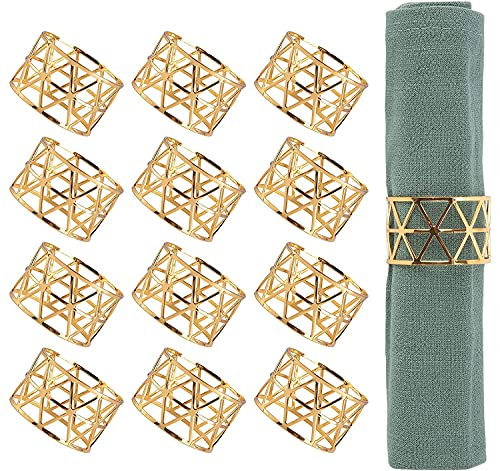 12PCS – Gold Napkin Rings, Napkin Ring Holders for Dining, Anniversary, Birthday, Christmas, Candlelight Dinner, Holiday, Party of Table Setting, Table Decoration