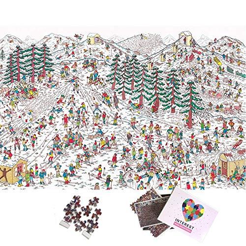 Alesxi Campo De Esquí De Dibujos Animados 1000 Piezas Puzzle De Rompecabezas Gigante 1000 para Adultos Niños Adolescentes Puzzles Juguetes Puzzle De 1000 Piezas