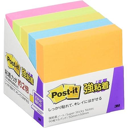 ポストイット 付箋 強粘着 ノート ネオンカラー 50×50mm 90枚×5冊 650-5SSAN