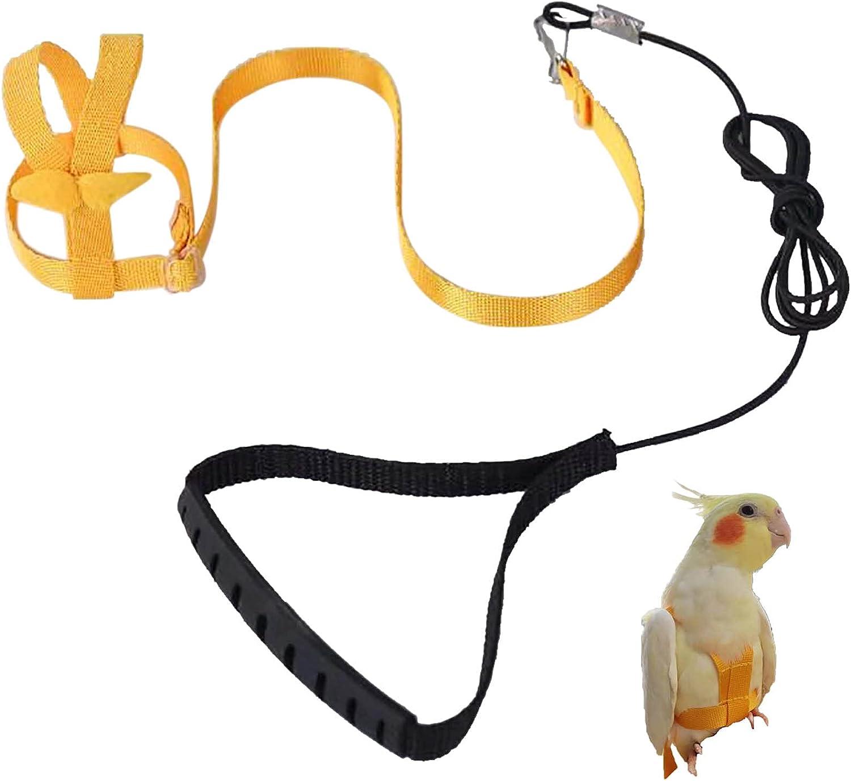 Arnés de loro ajustable para mascotas arnés de aves correa de entrenamiento de vuelo al aire libre, correa elástica antimordedura para pájaros, loro, cacatúas, guacamayos (amarillo, L)