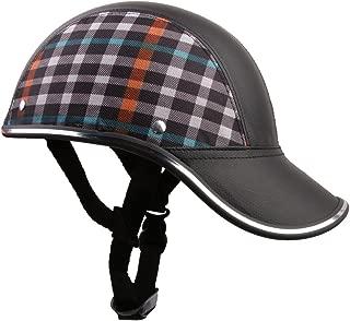 Generic(Unbranded) Men Motorcycle Pu Leather Helmet Hat Cap Motocross Half Open Face Visor (Black)