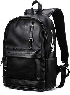 KISSUN PU Leather Backpack For Men Vintage School College Bookbag USB Charging Port 14 inch Laptop Computer Soft Leather Backpack Travel Backpack (Color)
