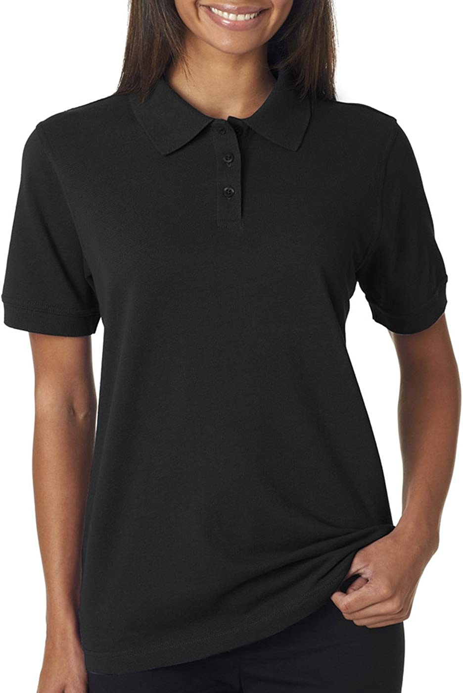 UltraClubs Women's Classic Pique Polo, Black, 3X-Large