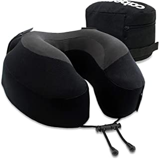 Cabeau Evolution S3 Travel Pillow, Memory Foam Airplane Neck Pillow for Travel, Breathable & Machine Washable Soft Cover, 360-Degree Neck & Chin Support, Black