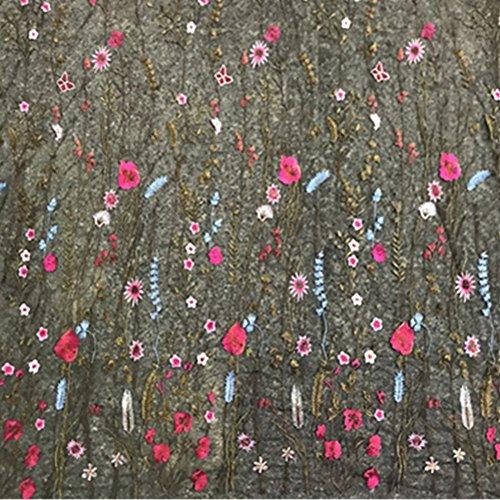 YOUMU Tela de encaje floral bordada de malla negra para vestido de boda de 107 cm de ancho por metro,Tela de falda de tul ligera
