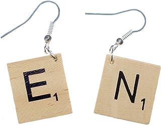 Miniblings Scrabble Ohrringe Initialen Buchstaben Upcycling Holz Retro Spiel DEINE WAHL P - Handmade Modeschmuck I Ohrhänger Ohrschmuck versilbert