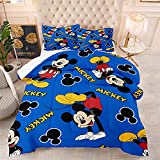 Mickey Mouse Bed Set Comforter Set Mickey Mouse Blue Bedding Set Full Quilt Set (1 Comforter +2 Pillowcases) for Kids Boys Girls Teens