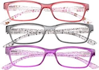 SOOLALA 3 Pairs of Patterned Ladies' Quality Spring Hinge Reading Glasses with Pouch