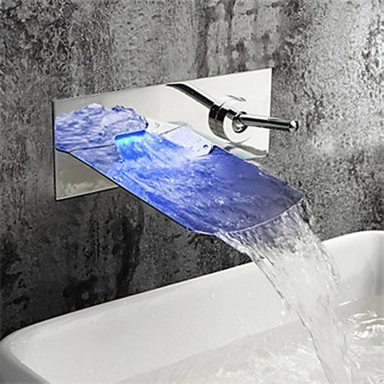Bijjaladeva Wasserhahn Bad Wasserfall Mischbatterie Waschbecken Waschtisch Armatur für Badezimmer Alle Modernen - Messing Chrom Single in die Wand LED Wasserfall Wasserhahn Griff