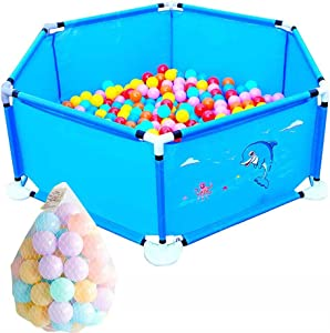 GYM Panel Baby Playpen Toddler Play Fence With 100 Balls  Indoors Anti-fall Playard  Color BLUE